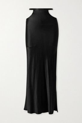 Michael Lo Sordo Cutout Silk-satin Maxi Skirt - Black