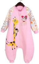 Aivtalk Baby Girls Sleepwear Infant Toddler Autumn Cotton Soft Pink Bear Sleeping Bag Sack for 12-18 Months Snowsuit