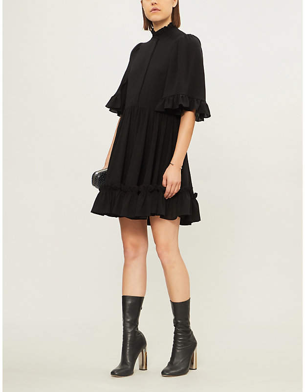 Alexander McQueen Ruffled silk-crepe mini dress