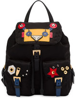 Prada Robot Small Two-Pocket Backpack, Black/Multi (Nero)