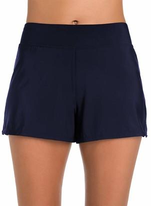 Penbrooke Women's Plus-Size Tummy Control Swim Short Bikini Bottom