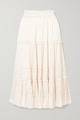 Ulla Johnson Carina Tiered Crinkled-satin Midi Skirt - Cream