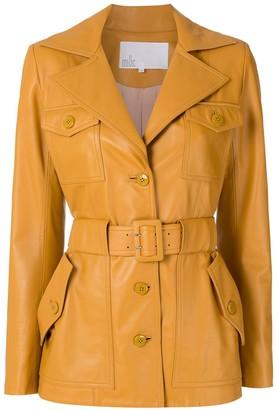 Nk Pockets Leather Coat