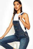 boohoo Stacy Denim Dungarees mid blue