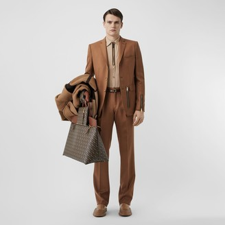 Burberry Zip Detail Wool Twill Pleated Trousers