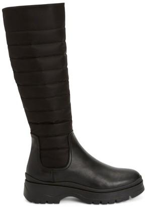 Aquatalia Skyla Quilted Leather & Nylon Tall Boots