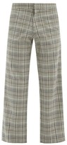 Thumbnail for your product : Edward Crutchley Checked Straight-leg Wool Trousers - Grey Multi