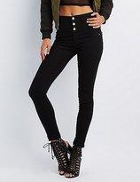 Charlotte Russe Refuge Hi-Waist Super Skinny Black Jeans