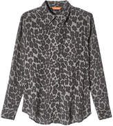 Joe Fresh Women's Print Silk Blouse, Grey (Size L)