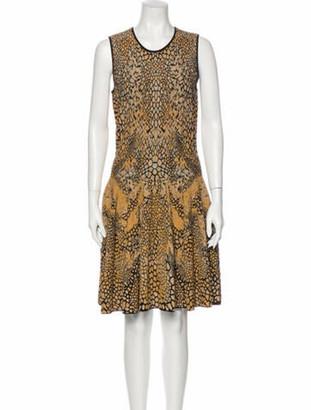 Alexander McQueen Animal Print Knee-Length Dress Gold
