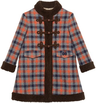Gucci Petit check wool coat with faux fur