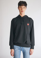 Comme des Garcons Men's Play Hooded Sweatshirt in Black, Size Small | 100% Cotton