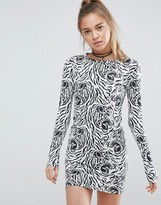 Illustrated People Animal Print Bodycon Dress