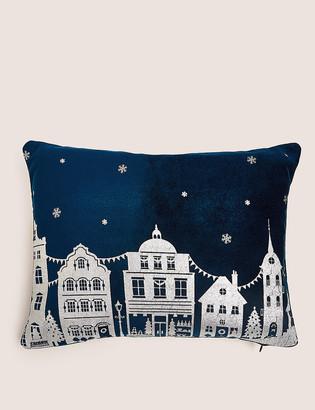 Marks and Spencer Velvet Foil Town Scene Small Cushion
