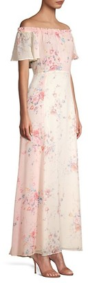 LoveShackFancy Evelyn Floral Silk Maxi Dress