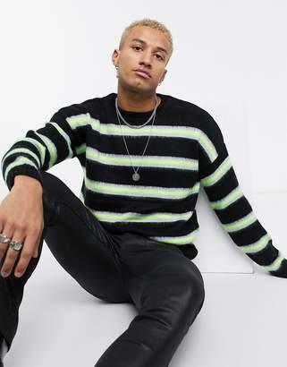 Asos Design DESIGN oversized neon stripe sweater in black