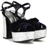 Saint Laurent Candy 80 Velvet Platform Sandals