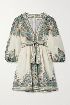 Zimmermann Brighton Belted Paisley-print Linen-voile Mini Dress - Turquoise
