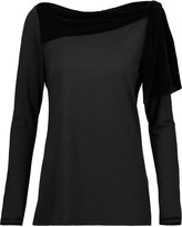Raoul Lamya knotted velvet-trimmed stretch-jersey top