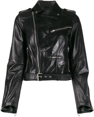 Isabel Benenato Cropped Leather Jacket