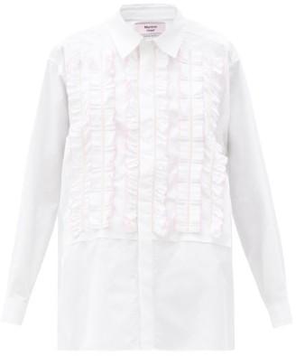 Martine Rose Elemental Frilled-panel Cotton-poplin Shirt - White