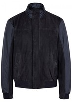 Pal Zileri Navy Suede And Shell Bomber Jacket