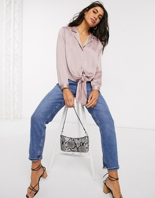 Asos DESIGN long sleeve satin shirt with tie detail in mauve