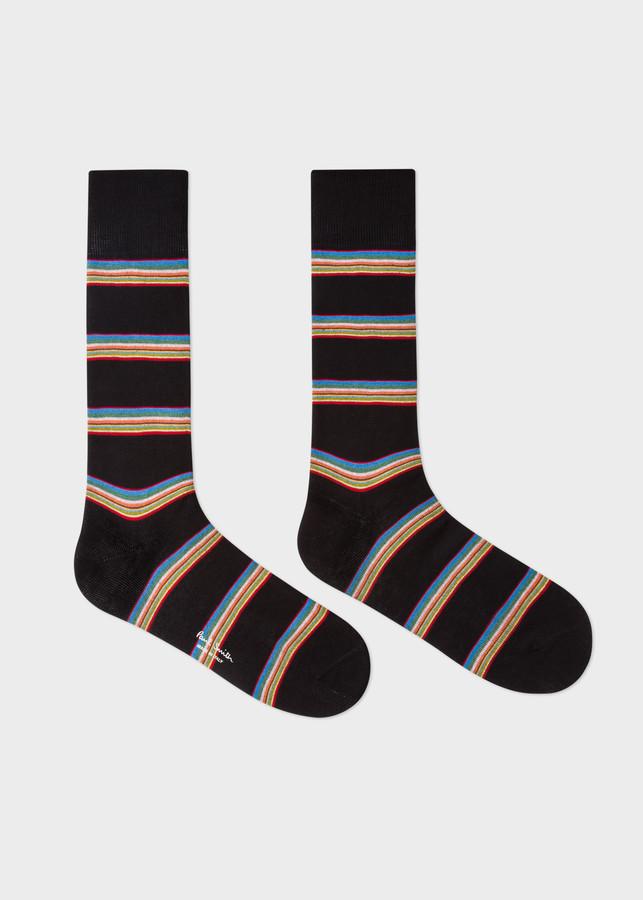 Thumbnail for your product : Men's Black Multi-Coloured Block Stripe Socks