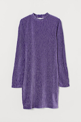 H&M Crinkled Velour Dress - Purple