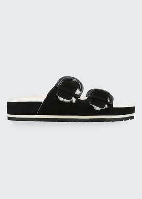 Vince Glyn Shearling Dual Buckle Slide Sandals