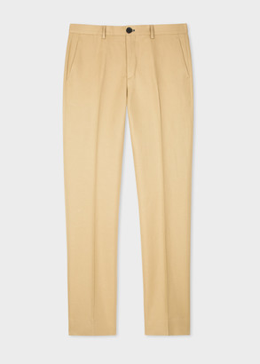Paul Smith Men's Mid-Fit Sand Cotton-Linen Chinos