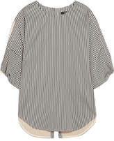 Bassike Striped Cotton And Silk-blend Blouse