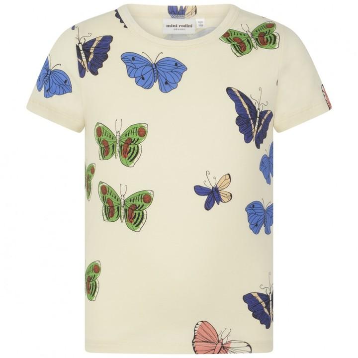 Girls Ivory Butterflies Print Top