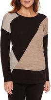 Liz Claiborne Long-Sleeve Colorblock Tunic Sweater - Petite