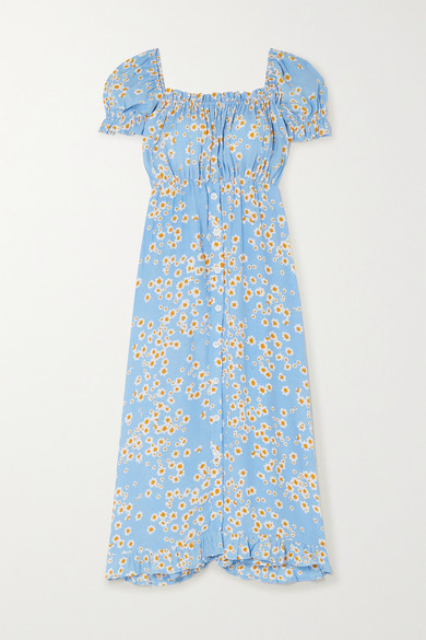 Faithfull The Brand Ina Floral-print Crepe Midi Dress - Sky blue