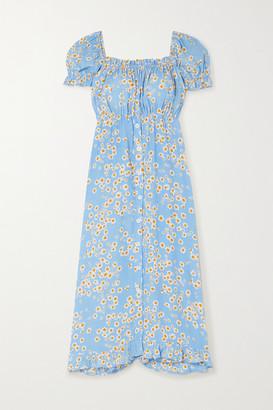 Faithfull The Brand Ina Floral-print Crepe Midi Dress - Sky blue