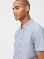 Very Short Sleeved Button Down Oxford Shirt - Chambray