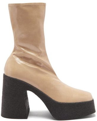Stella McCartney Patent Faux-leather Platform Ankle Boots - Beige