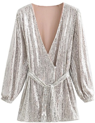 Goodnight Macaroon 'Tiffany' V-neck Sequinned Waist Tied Mini Dress