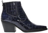 Sam Edelman Winona Western Croc-Embossed Leather Ankle Boots