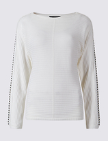 M&S Collection Stud Detail Sleeve Round Neck Jumper