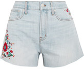 Madewell The Perfect Embroidered Denim Shorts - Light denim