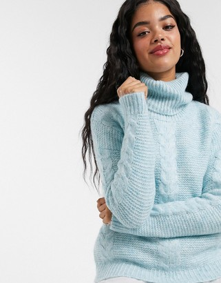 Pimkie roll neck cable knit jumper in blue