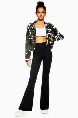 Topshop Womens Petite Skinny Rib Flares - Black
