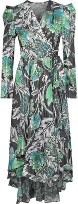 Diane von Furstenberg Darcey Printed Metallic Jacquard Wrap Dress