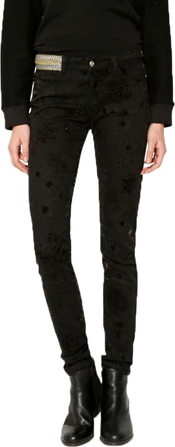 Thumbnail for your product : Desigual Women's Black Velvet Print Helena Skinny Jeans 46 UK 18
