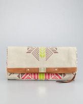 Cynthia Vincent Tribal-Print Banker's Clutch Bag