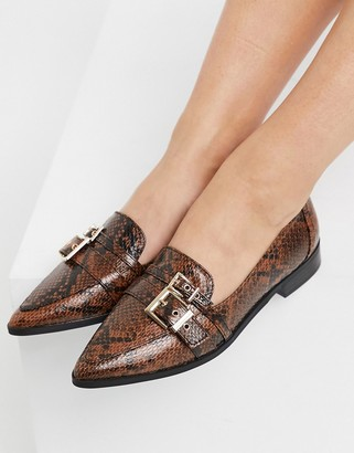 ASOS DESIGN Mae pointed loafers with buckle in snake
