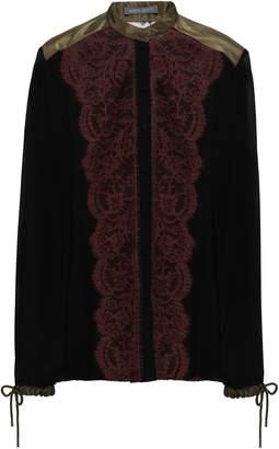 Alberta Ferretti Paneled Silk-georgette, Satin And Lace Shirt
