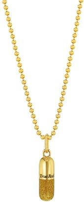 True Rocks 18 Carat Gold Plated & Gold Glitter Enamel Pill Pendant